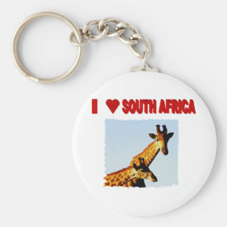 I Love South Africa blue sky Giraffe Keychain