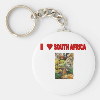 I Love South Africa Collage Basic Round Button Keychain