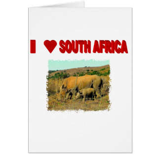 I Love South Africa Rhinos and reeds Card