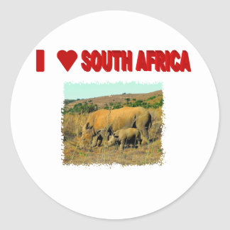 I Love South Africa Rhinos and reeds Classic Round Sticker