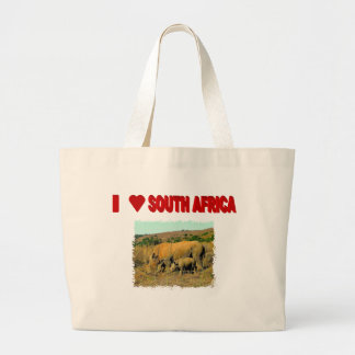 I Love South Africa Rhinos and reeds Large Tote Bag