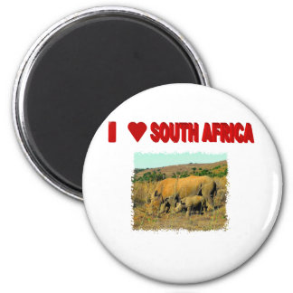 I Love South Africa Rhinos and reeds Magnet
