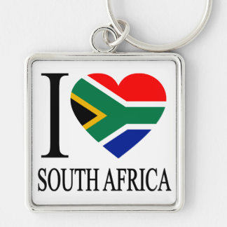 I Love South Africa Silver-Colored Square Keychain