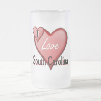 I Love South Carolina Frosted Glass Beer Mug
