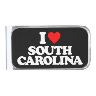 I LOVE SOUTH CAROLINA SILVER FINISH MONEY CLIP