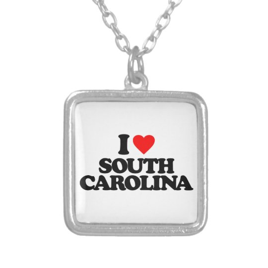 I LOVE SOUTH CAROLINA SILVER PLATED NECKLACE