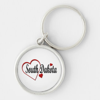 I Love South Dakota Hearts Premium Keychain