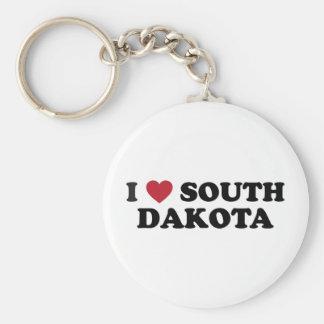 I Love South Dakota Basic Round Button Keychain