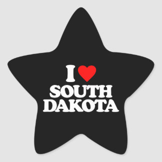 I LOVE SOUTH DAKOTA STAR STICKER