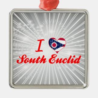 I Love South Euclid, Ohio Square Metal Christmas Ornament