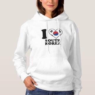 I Love South Korea Korean Flag Heart Hoodie