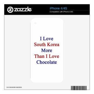 I Love South Korea More Than I Love Chocolate iPhone 4 Decals