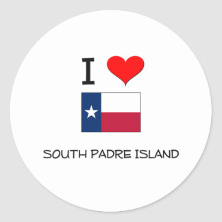 I Love South Padre Island Texas Classic Round Sticker