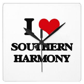 I Love SOUTHERN HARMONY Square Wallclock