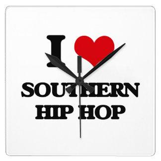 I Love SOUTHERN HIP HOP Square Wallclocks