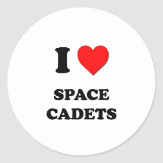 I love Space Cadets Round Stickers