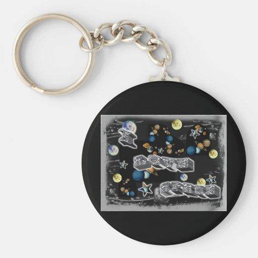 I Love Space Key Chain