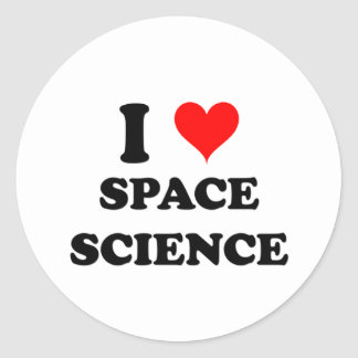 I Love Space Science Classic Round Sticker
