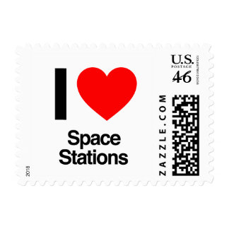 i love space stations postage stamp