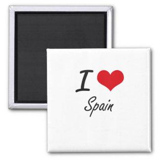 I love Spain 2 Inch Square Magnet