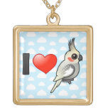 I Love Spangled Cockatiels Personalized Necklace