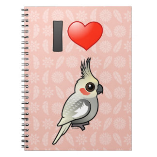 I Love Spangled Cockatiels Spiral Notebook