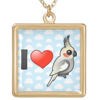 I Love Spangled Cockatiels Square Pendant Necklace