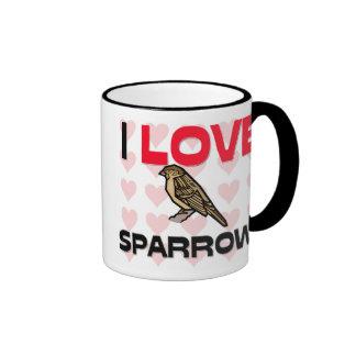 I Love Sparrows Ringer Coffee Mug