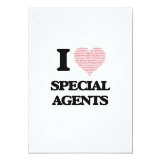 I love Special Agents (Heart made from words) 5x7 Paper Invitation Card