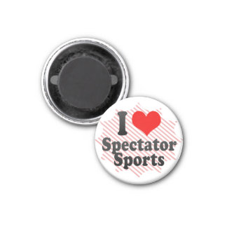 I love Spectator Sports 1 Inch Round Magnet