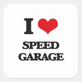 I Love SPEED GARAGE Square Stickers