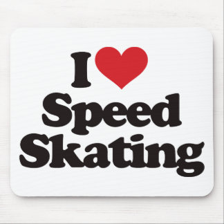 I Love Speed Skating Mouse Pad