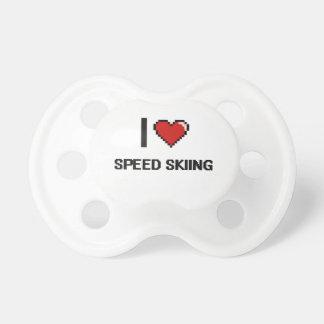 I Love Speed Skiing Digital Retro Design BooginHead Pacifier