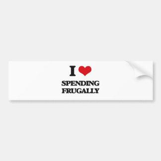 I Love Spending Frugally Car Bumper Sticker