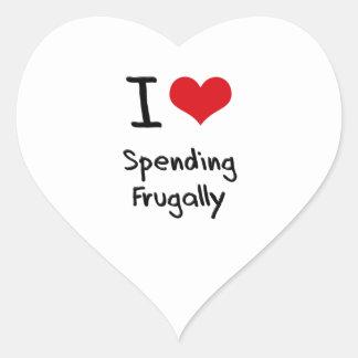 I Love Spending Frugally Heart Sticker