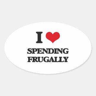 I Love Spending Frugally Oval Sticker