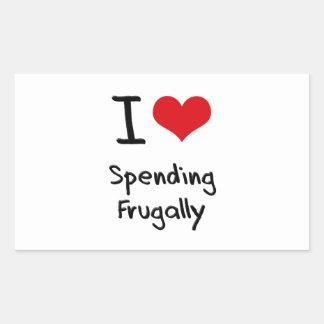 I Love Spending Frugally Rectangular Sticker