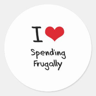 I Love Spending Frugally Classic Round Sticker