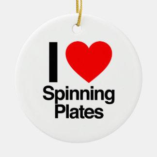 i love spinning plates ceramic ornament