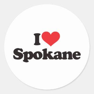 I Love Spokane Round Stickers
