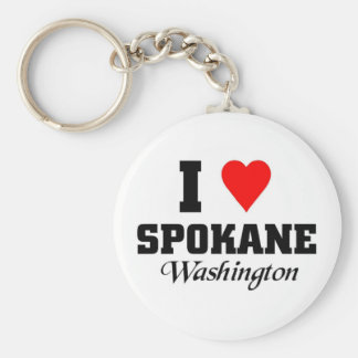 I love Spokane Washington Basic Round Button Keychain