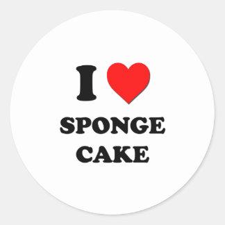 I love Sponge Cake Round Sticker