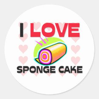 I Love Sponge Cake Round Stickers