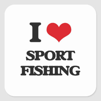 I Love Sport Fishing Square Stickers