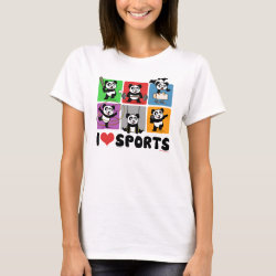 Women's Basic T-Shirt with I Love Sports design