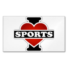 I Love Sports Magnetic Business Card at Zazzle