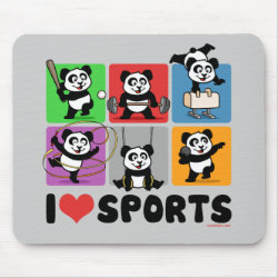 Mousepad with I Love Sports design