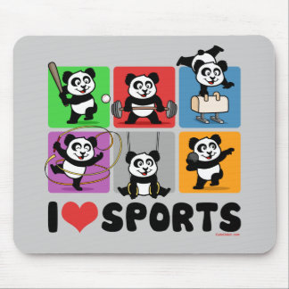 I Love Sports Pandas Mouse Pad