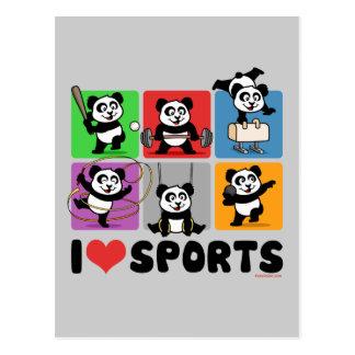 I Love Sports Pandas Postcard