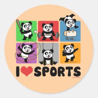 I Love Sports Pandas Round Stickers